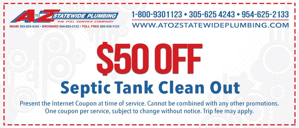 Coupon $50 off septic tank clean out