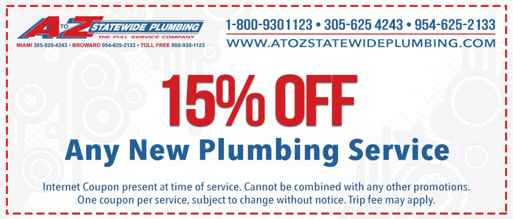 15% Off plumbing coupon, Miami Plumber