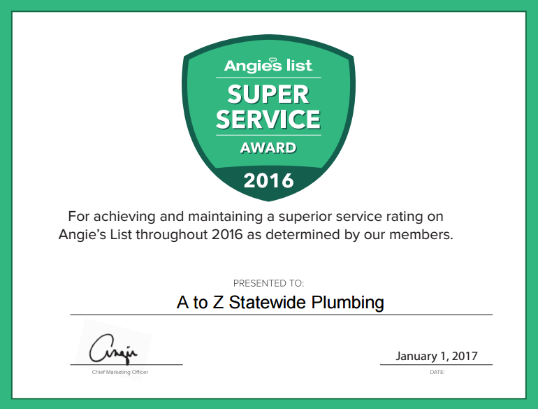 A to Z Statewide Plumbing Earns Esteemed 2016 Angie's List Super Service Award