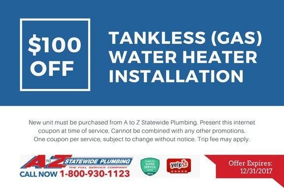 $100 off tankless water heater installation