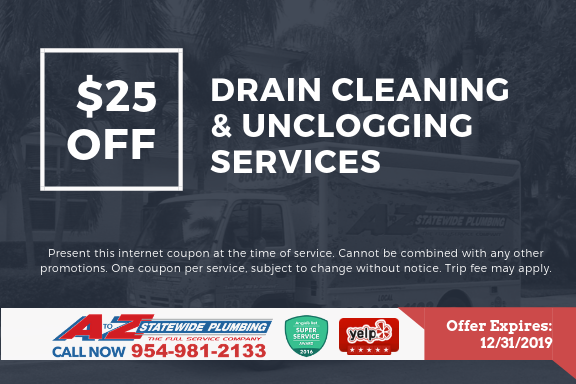 $25 off drain cleaning unlcogging services