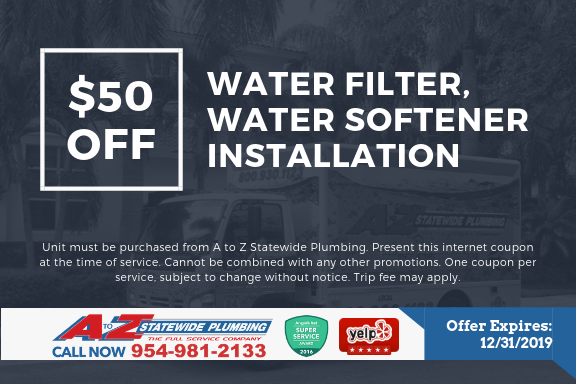 $50 off water filter water softener installation