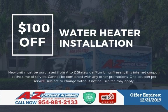 $100 off water heater installation repair maintenance