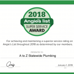 A to Z Statewide Plumbing Earns 2018 Angie's List Super Service Award
