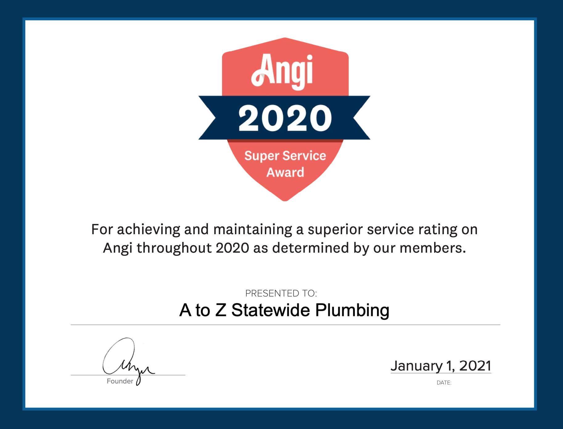 Angi Super Service Award 2020